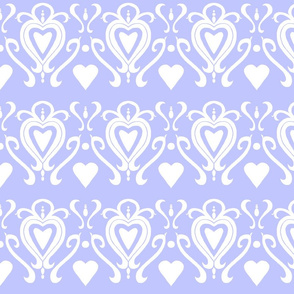 Heart Damask 4- Blue