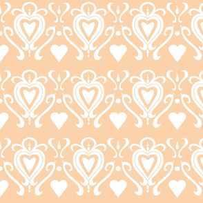 Heart Damask 4- Orange