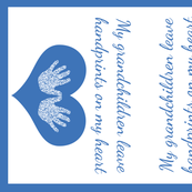 Blue handprints Grandmother Tea Towel