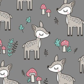 Sweet  Woodland Deer and Mushrooms Forest on Dark Grey
