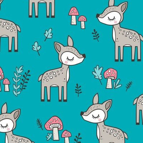 Sweet  Woodland Deer and Mushrooms Forest on Aqua Blue