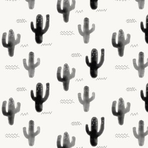 Watercolor cacti - black and white, monochrome, modern cactus || by sunny afternoon