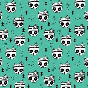 Cool geometric Scandinavian winter style indian summer animals little baby panda green XS