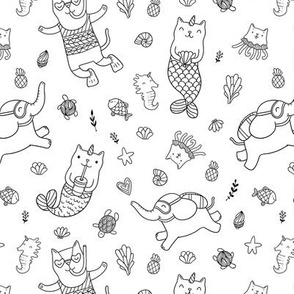 cat mermaids pattern