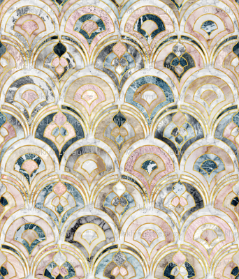Marble Art Deco Tiles In Soft Pastels Fabric Micklyn