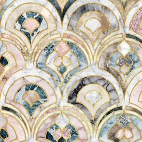 Marble Art Deco Tiles in Soft Pastels