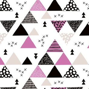 Geometric pastel black and white triangle  abstract memphis style crosses and shapes purple