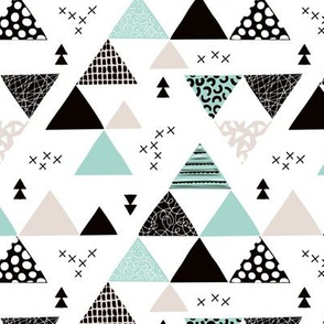Geometric pastel black and white triangle  abstract memphis style crosses and shapes mint