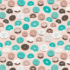 Colorful donuts sweet NY bakery goods candy design blue beige gender neutral