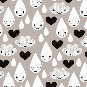 Soft clouds rain drops sweet dreams kawaii love sparkle sky soft beige