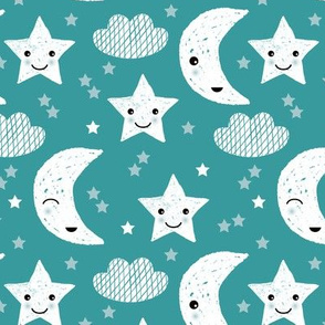 Soft stars good night clouds sweet dreams moon kawaii sparkle soft blue