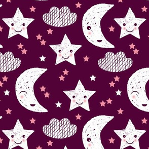 Soft stars good night clouds sweet dreams moon kawaii sparkle pink maroon purple
