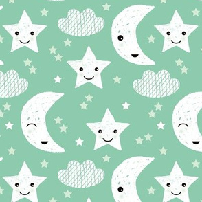 Soft stars good night clouds sweet dreams moon kawaii sparkle mint gender neutral
