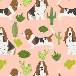 basset hound cactus desert tropical summer plants dog dogs basset hound fabric