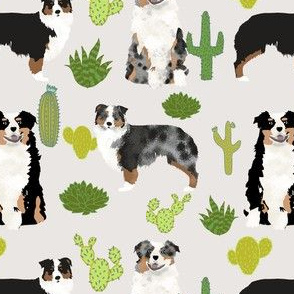australian shepherds cactus dogs aussie dogs australian shepherds cacti fabric blue merle black and tan tri fabric