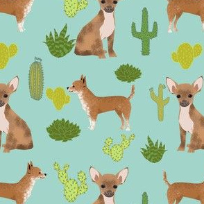 chihuahua mint cactus dog cute dogs pets pet dog fabric