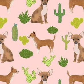 chihuahua dog pink cactus trendy kids baby cute cactus summer succulent pet dogs cute baby fun fabric
