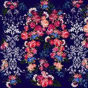 Antique Floral with Flourishes // Navy