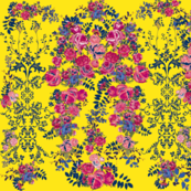 Antique Floral with Flourishes // Yellow