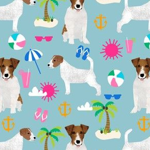 jack russell summer beach tropical palm tree cute dogs beach fabric