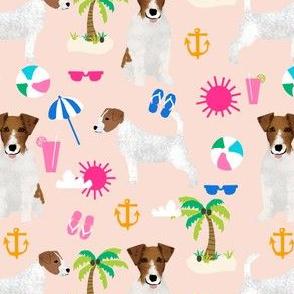 jack russell beach palm tree summer cute dogs pet dog fabric