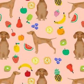 vizsla dog fruit summer cute pink peach girly pastel summer dogs fabric