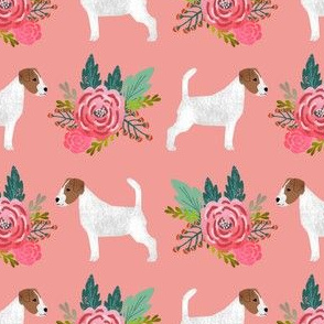 jack russell flowers florals cute dog with flowers fabric print