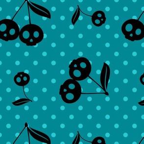 Dots with Cherry Skulls Aqua