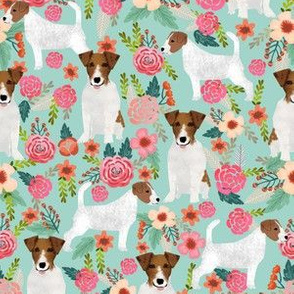 jack russell terrier fabric mint flowers florals cute vintage flowers