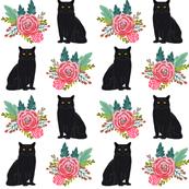 cat flowers black cat florals vintage painted flowers cute cat fabric for cat ladies