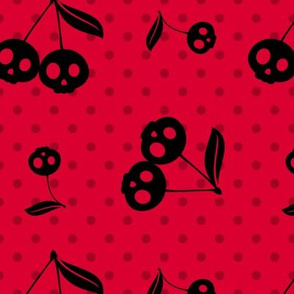 Dots with Cherry Skulls Red