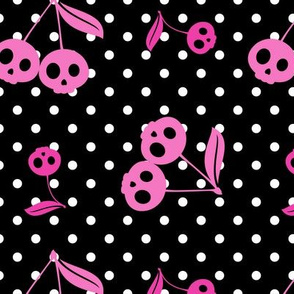 Dots with Cherry Skulls Black Pink