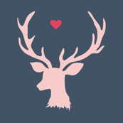 Pink Deer with Heart - Dark Blue