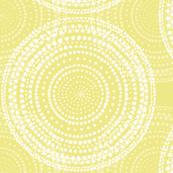 Watercolor mandalas on mid-century yellow