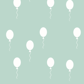 Balloons - monochrome with mint, black and white, happy kids, baby, gender neutral, nursery, dusty mint || by sunny afternoon