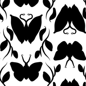 Black Butterfly Column on White