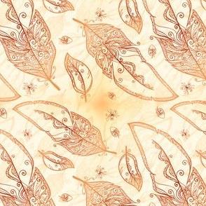 Mehndi feathers pattern