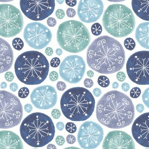 white snowflakes in blue circles