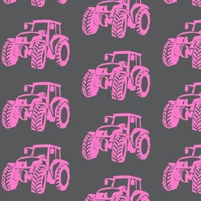 Tractors grey with pink