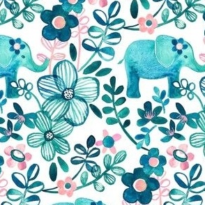 Little Teal Elephant Watercolor Floral on White