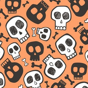 Skulls and Bones Halloween Black & White on Orange