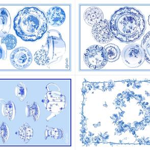 Blue & White China Tea Towel