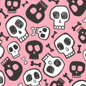 Skulls and Bones Halloween Black & White on Pink