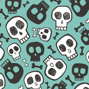 Skulls and Bones Halloween Black & White on Mint Green