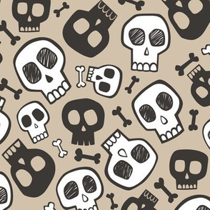 Skulls and Bones Halloween Black & White on Almond