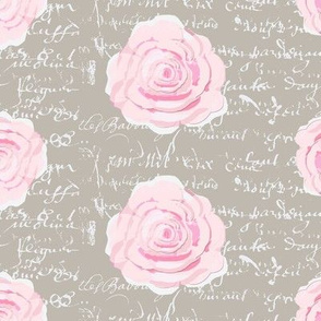 Shabby Chic Painted Roses on Summer Taupe with white French script-ch-ch
