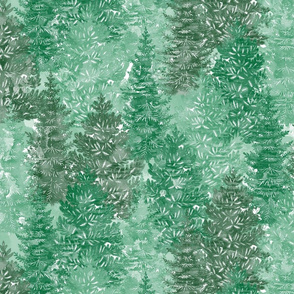 Summer Conifer Forest Watercolor Green