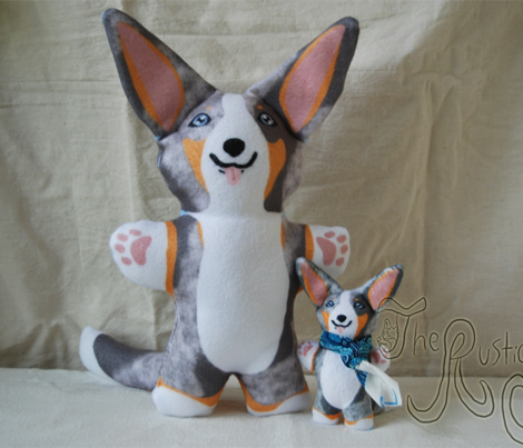 Kawaii Corgi plushie on green - merle
