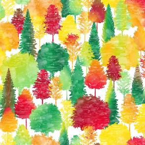 Autumn Forest Colors Watercolor