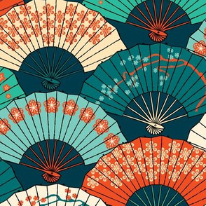 Japanese Fans in Teal Pattern
